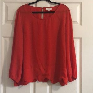 Red/orange plus size blouse with scalloped bottom